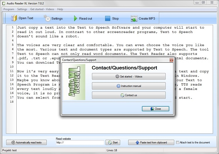 Text to Speech Software to Fight against Learning Difficulties